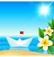 White paper boat near blooming tropical island vector image
