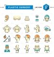Plastic surgery concept Color thin line icons vector image