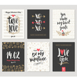 Valentines day hand drawn greeting set vector image