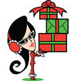 Girl with Christmas presents vector image vector image