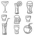 set of drink hand draw doodles vector image