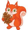 Squirrel with a pine cone vector image vector image
