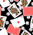 Six sided dice and blackjack cards seamless vector image