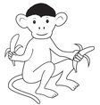 Monkey with bananas 2 vector image vector image