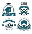 Marine sport yacht club design with sailing ships vector image