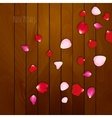 Realistic rose petals on wooden background vector image