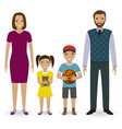 happy young family standing together father vector image