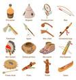indians ethnic american icons set isometric style vector image