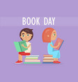 kids sits on pile of literature on book day card vector image