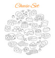 set of various types of cheese hand drawn vector image