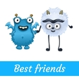 Two best friends white and blue mutant toon vector image