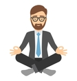 Businessman in suit meditating vector image