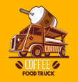 food truck coffee cafe breakfast delivery service vector image