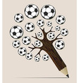 Soccer ball pencil tree concept vector image