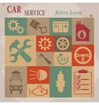 Car service maintenance flat retro icons vector image vector image