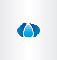 cloud and raindrop logo icon vector image