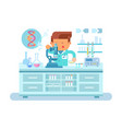 genetics doctor during work at laboratory vector image