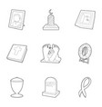 Ritual service icons set outline style vector image