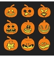 Set of halloween pumpkins with different vector image
