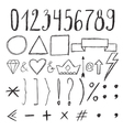 Sketch design elements Numbers Set of hand drawn vector image