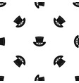 top hat with buckle pattern seamless black vector image