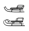 Hand drawn set of two sleds vector image