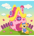 rabbit with a pink house vector image vector image