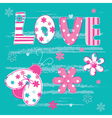 Cute kid background with letters and ladybug vector image vector image
