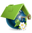 blue globe under green roof and flower vector image