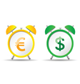 clock with euro and dollar vector image