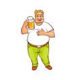 funny smiling fat man holding big mug of beer vector image
