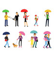 people under umbrella set men and women walking vector image