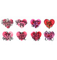 set of watercolor hearts and lettering vector image