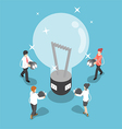 Isometric business people going to recharge idea vector image