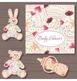 Baby shower on wooden background vector image vector image