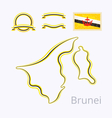 Brunei - Outline Map and Ribbons vector image