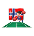 The flag of Norway with a cheerdancer vector image