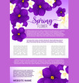 spring flower bouquet greeting poster template vector image