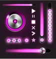 Equalizer and player metal buttons with track bar vector image vector image