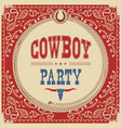 cowboy party card background vector image vector image