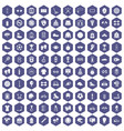 100 sport accessories icons hexagon purple vector image
