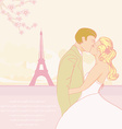 wedding couple kissing in Paris background vector image vector image