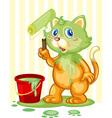 Cat spilling paint vector image