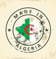 Stamp with map flag of Algeria vector image