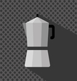 A silver coffee maker with a handle and shadow vector image