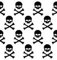 Black and white skulls background vector image