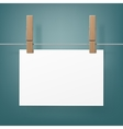 Clothespins Pegs with hanged paper sheet on Rope vector image