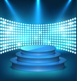 illuminated festive shiny blue stage podium with vector image