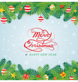 Christmas Pine Leaves Decoration Border vector image