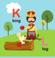 alphabet letter k-king l-log vector image